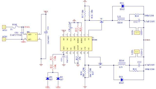 典型应用案例介绍:      bp2888开关调色吸顶灯方案 输入电压:180v